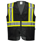 Black Safety Vest High Visibility Hi Vis Contrast Reflective Tape Mesh All Sizes