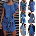 Womens Summer Denim Jeans Mini Dress Long Sleeve Casual T Shirt Blouse Dresses