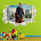 Superman Smashed Wall Sticker Crack Superheroes Kids Bedroom Decal Gift