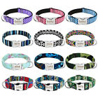 Nylon Small Large Personalised Dog Collars Pet Name ID Engraved Free Labrador