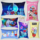 1PC BTS Cute BT21 Car Sofa Waist Cushion Cover Home Decor Peach Skin Pillowcase image