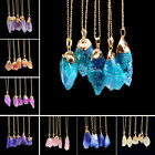 Quartz Gold Plated Natural Crystal Chakra Rock Necklace Pendant Colorful Stone image