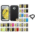 For Motorola Moto E LTE 2nd Gen  TUFF IMPACT Phone Case Rugged Cover + Cable
