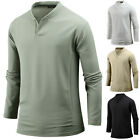 Mens Stylish Slim Fit Henley V Neck Long Sleeve Tee T-shirt Tops Blouse W09 S-XL