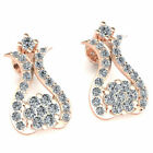 Natural 0.55ctw Round Cut Diamond Ladies Cluster Flower Earrings 18K Gold