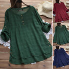 Check Tops Women S-5XL Vintage Ethnic Shirt Tops Asymmetrical Oversize Blouse