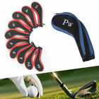 10pcs Golf Head Covers Headcover Long Neck Iron Zippered Fit For All Brands UK