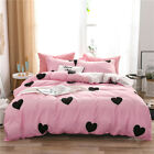 New High Quality Love Print Cotton Flat Sheet Duvet Cover Pillowcase Bedding Set image
