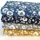 Avery floral 100% cotton fabric mustard navy silver or copen sold per half metre