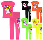 Girls Unicorn Set Kids Short Sleeve Top And Leggings Neon Colors Ages 4-13 Years