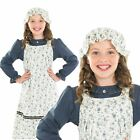 Girls Childs Victorian School Girl Maid Fancy Dress Book Day Costume And Mop Cap