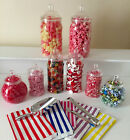 EIGHT Sweet Jars PLUS Scoop, Tong AND 50 Bags Candy/Sweet Buffet Table Wedding
