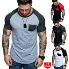 Fashion Men's Slim Fit O Neck Short Sleeve Muscle Tee T-shirt Casual Blouse Tops