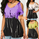 Women Printed Plus Size Tops Off Shoulder Short Sleeve Summer Loose Sexy T-shirt