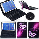 "US For 7"" 10"" 10.1"" Tablets Purple Butterfly PU Leather Case USB Keyboard Cover"