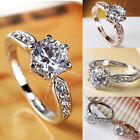 Ladies Crystal Zircon Rings 925 Silver Princess Boutique Jewelry Engagement Ring