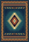"BLUE southwestern Border lodge CARPET 2x8 AREA rug : Actual 1' 11"" x 7' 4"""