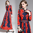 women Vintage print Floral flower runway Slim A-Line party long maxi Swing dress