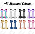New Anodised Steel Ball Tragus Labret Cartilage Stud Bar Helix Conch Piercing