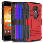 For Motorola E5 Play / Cruise Shockproof Hybrid Armor Stand Belt Clip Cover Case