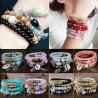 4Pcs Women Boho Multilayer Natural Stone Crystal Bangle Beaded Bracelet Jewelry image