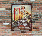 Saucy Harley Davidson At The Pump Retro Vintage Metal Wall Sign £13.95 GBP on eBay