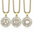 Cz Cubic Zirconia Initial A-z Letter Name Pendant Necklace For Women Gold Filled