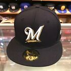 New Era 59FIFTY Milwaukee Brewers Fitted Hat Cap Navy/Grey Bottom on Ebay