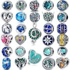 Mixed Style Round/Heart 925 Sterling Silver CZ European Beads Fine Jewelry