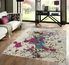MEDIUM - EXTRA LARGE IVORY CREAM CANVAS MULTI COLOURED PAINT SPLASH RUG