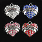 5pcs Heart Oma Crystal Charm Pendant For Diy Bracelet Keychain Necklace Gift