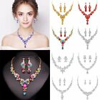 New Prom Wedding Bridal Silver Jewelry Set Crystal Rhinestone Necklace Earrings