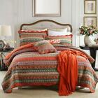 Newlake Striped Classical Cotton 3-Piece Patchwork Bedspread Quilt Sets, Queen S image
