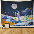 Cactus Tapestry Moon Watercolor Psychedelic Mountain Bedroom College Dorm Room