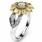 Women Sunflower Silver Rose Gold Ring Plated Zircon Promise Wedding Jewelry Us