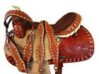 PREMIUM TOOLED PLEASURE TRAIL HORSE WESTERN 15 16 BARREL RACING LEATHER SADDLE