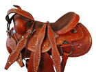 TRAIL SADDLE 17 16 COMFY CUSH HORSE PLEASURE TOOLED WESTERN LEATHER TACK SET