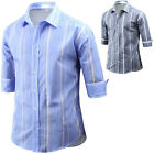 Mens Dandy Stripe 3/4 Sleeve Business Formal Casual Dress Shirts Tops W47 XS-M
