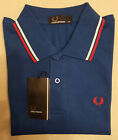 Mens Fred Perry Polo T-Shirt - Black Blue Navy White