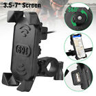 Motorcycle Handlebar Cell Phone Mount Holder with USB Charger for Smartphone US