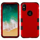 For Apple iPhone X/XS Tuff Dual Layer Hybrid Metal PC/TPU Rubber Case Cover