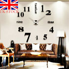 Modern Home Diy 3d Number Mirror Wall Sticker Art Clock Living Room Office Decor