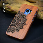 Flower Carved Case Wood Wooden Fitted Cover For Samsung Galaxy S9+ S8 Plus Note5