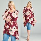 Plus Top Floral 3/4 Sleeve Casual 1X 2X 3X Shark Bite Asymmetrical Spring Wine