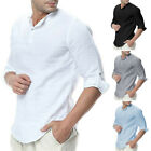 US Men Long Sleeve V-Neck Casual Loose T-Shirt Blouse Cotton Linen Pullover Tops image
