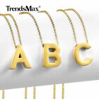 Womens Gold Stainless Steel Slide Alphabet Initial Letter Pendant Necklace 18""