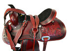 CUSTOM LEATHER TOOLED FLORAL PLEASURE HORSE WESTERN RANCH ROPING SADDLE 16 17