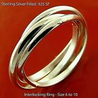 Ring 925 Sterling Silver S/f Solid Trinity Russian Wedding Band Unisex Size 6-9