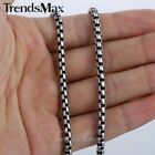 4mm Mens Boys Chain Round Box Gunmetal Tone Stainless Steel Necklace Chain