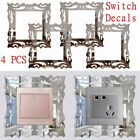 1/4 X Silver Mirror Flower Light Switch Surround Wall Sticker Cover Frame Decor